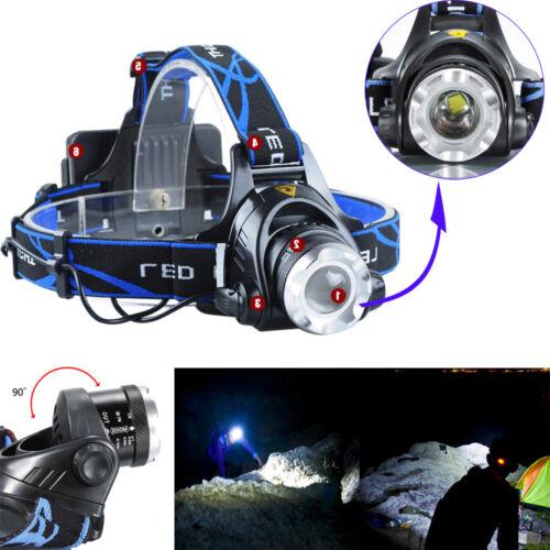 2Pcs Piles Chargeur Nouveau 6000 lm DEL Focus Phare Tête Lampe Zoom