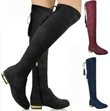 LADIES WOMENS OVER THE KNEE HIGH LOW GOLD HEEL BOOTS TASSEL ZIP STRETCH FLAT SZ