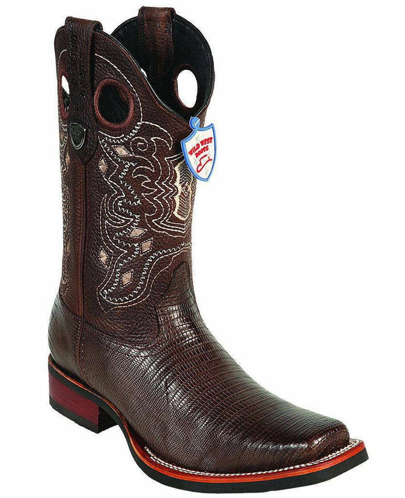 WILD WEST BROWN GENUINE LIZARD COWBOY BOOT RODEO-SQUARE-TOE RUBBER SOLE (EE)