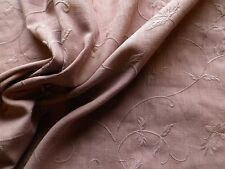 Mushroom Fawn Embroidered Linen Interiors or Dress Making Fabric