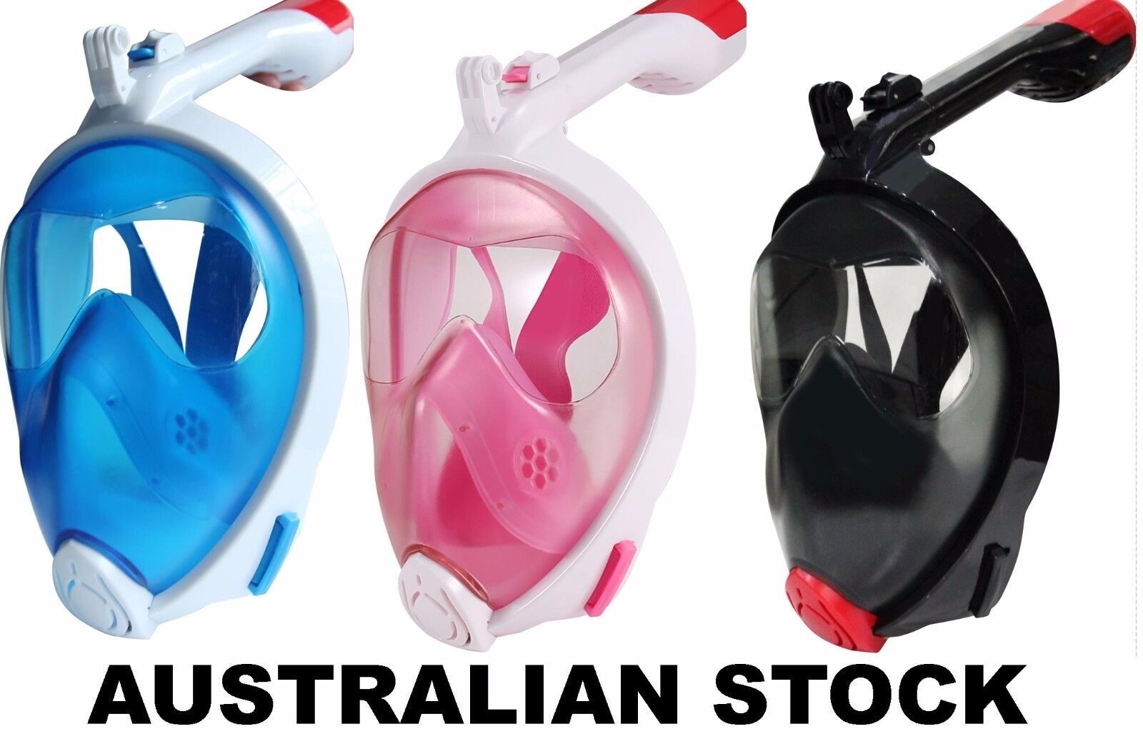 Full Face Snorkeling Snorkel Mask Diving Breather By Nose GoPro Mount Australia