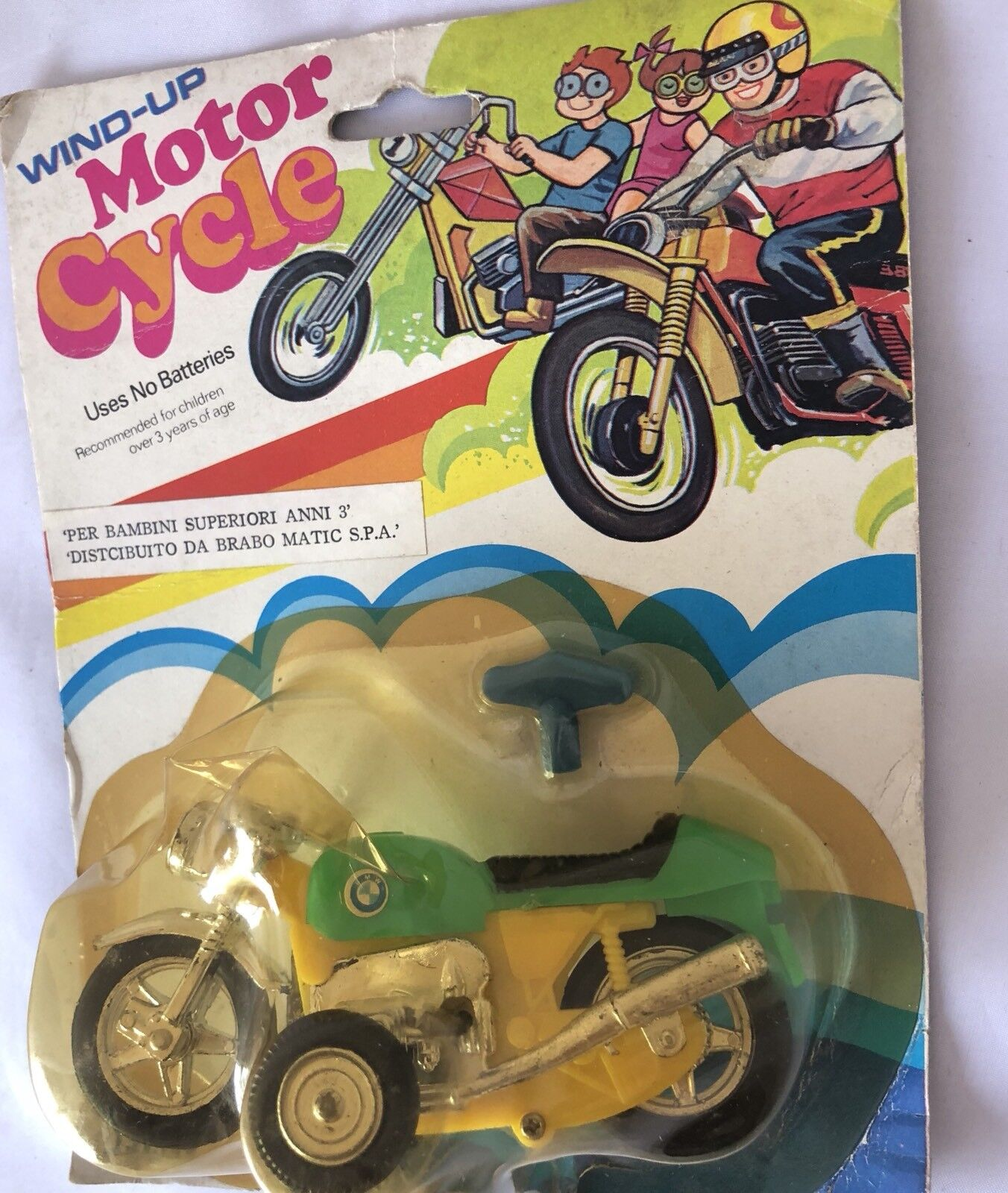Rara Moto a Corda Vintage - Wind Up Motorcycle BMW By Petrel Toys 1980's.