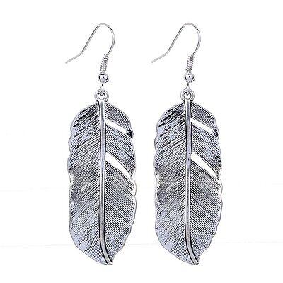 Elegant Hook Hollow Feather Tibetan Silver Earrings Dangle Jewelry Ladies Gift