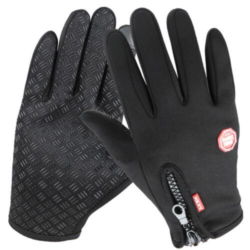 New Winter Warm Windproof Anti-slip Thermal Touch Screen Gloves Zipper UK
