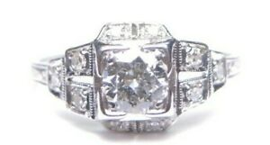 Antique Art Deco Vintage Diamond Platinum Engagement Ring Size 8 75 Uk R Egl Usa Ebay