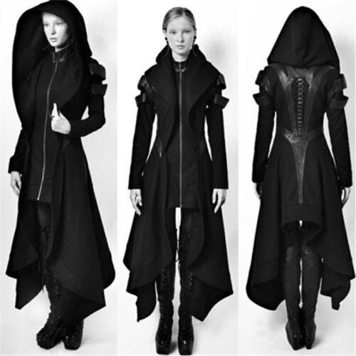 Irregular Women Black Hooded Coat Punk Gothic Cosplay Steampunk Jacket Overcoat