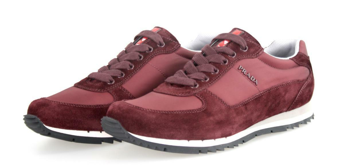 AUTHENTIC LUXURY PRADA SNEAKERS SHOES 4E2721 BORDEAUX RED US 7.5