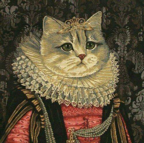 """Nouveau chat avec couronne C 18/"""" X 18/"""" Belge Tapisserie Housse de coussin avec zip 3041"""