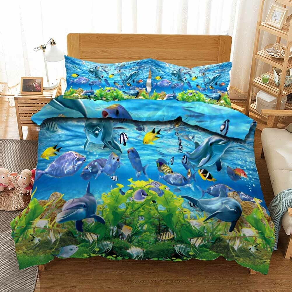 Seagrass Shark 3D Printing Duvet Quilt Doona Covers Pillow Case Bedding Sets