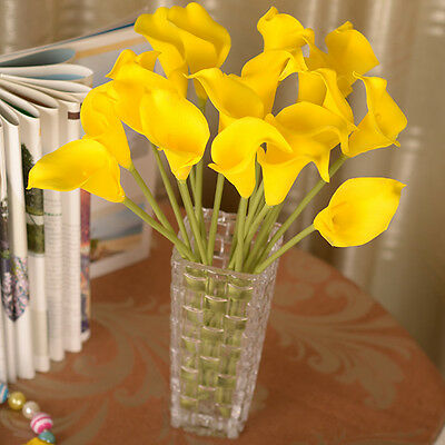 Yellow Fake Calla Lily Artificial Bridal Bouquet Silk Flower Home Party Decor