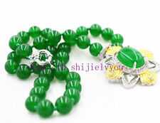 """Beautiful charming 10MM Green Emerald Beads /& Pendant Necklace 18 /"""""""