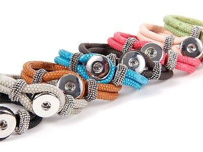 Chunk-Armband Schlaufen-Verschluss PU Kunstleder-Armband Button Schlangen-Optik