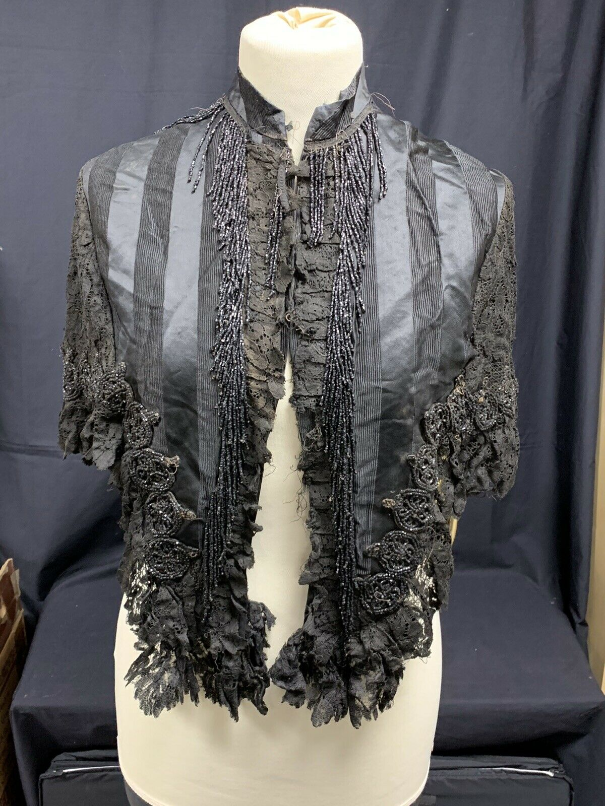 Satin And Lace Victorian Ladies Shawl Dated to 1890's All Original Inc Beading