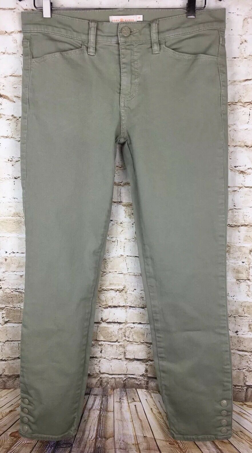 Tory Burch Jeans 28 Olive Green Straight Leg Button Accents New