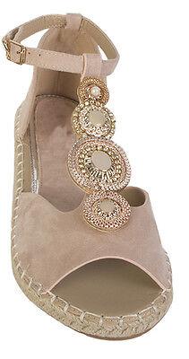 Para mujeres Damas Perla y Diamante Sandalia Zapatos hebilla frontal y Correa en el Tobillo Zapatos Talla