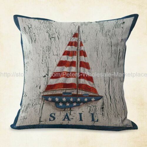 US SELLER stars stripes American flag sailing boat cushion cover decorative
