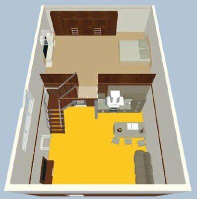 1073 Sqft Loft House Plan Dimentions On Plans Renders 3d Tiny Home Draw Plan Ebay