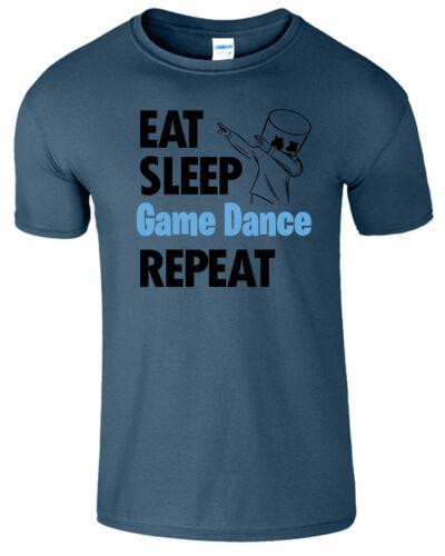 EAT Sleep Gioco Ripetere Danza Da Uomo T Shirt I giocatori PLAYSTATION NUOVO GIOCO BAMBINI Tee