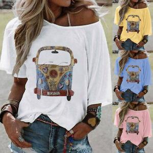 Women-Tie-dye-Floral-Printed-T-Shirt-Short-Sleeve-Tops-Ladies-Loose-Blouse-Tees
