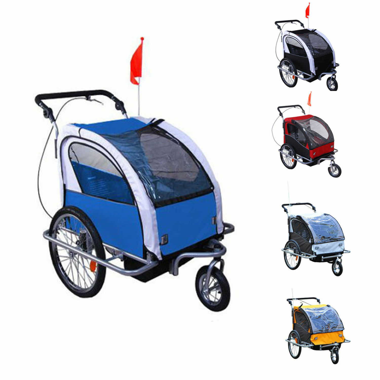 Remolque Infantil Bicicleta 2 PLAZAS Kit Footing Rueda 360º Amortiguadores Barra