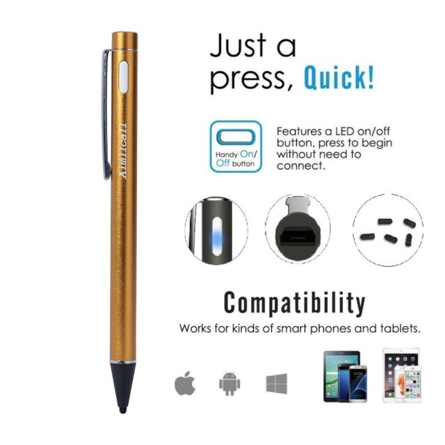 Rechargeable,Capacitive For iOS//Android Aimilcall 2.0mm USB Drawing Stylus Pen