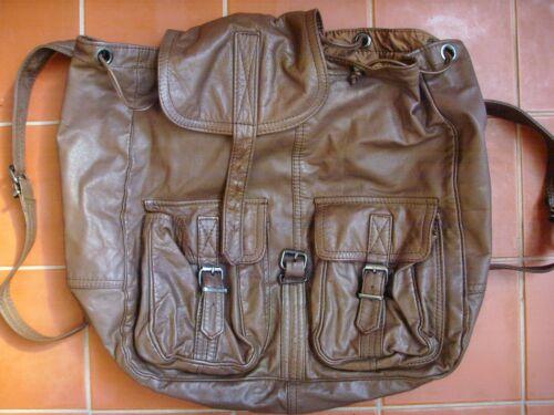 Rugged Genuine Brown Leather Rucksack