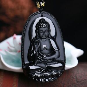 Jewelry-Unisex-Black-Blessing-Lucky-Obsidian-Carving-Buddha-Pendant-Necklace