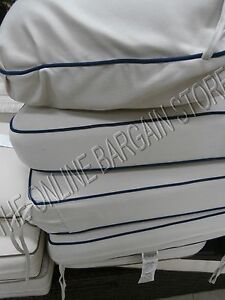 Details about Frontgate Carlisle Outdoor Sofa Cushions replacement Chair  herrinbone ivory blue