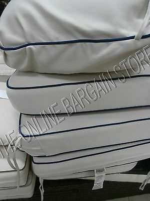 Frontgate Carlisle Outdoor Sofa Cushions replacement Chair herrinbone ivory  blue | eBay