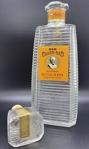 Empty 1963 Old Grand-Dad Clear Decanter Liquor Bottle Bottled in Bond 4/5