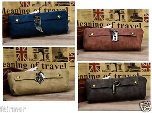 PU Leather Vintage Retro Soft Stationary Zipper Pen Pencil Case Bag With Charm