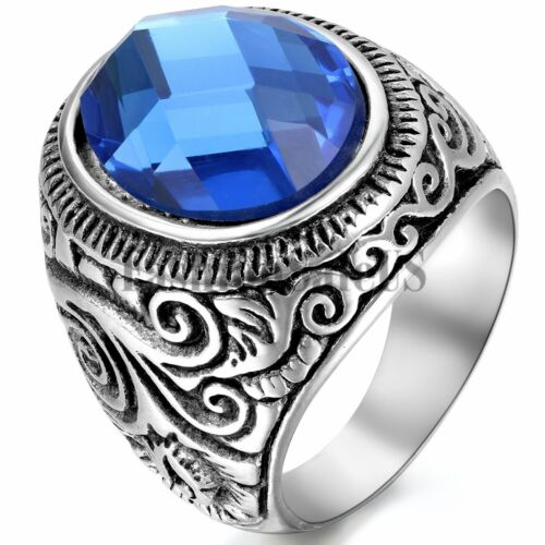 Men Vintage Classical Biker Stainless Steel Blue Glass Ring Charm Band Size 7-15