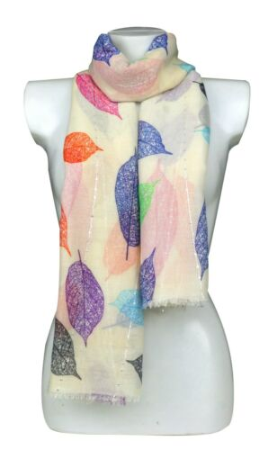 Multi Coloured New Ladies Leaf Scarves Very Soft Quality