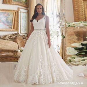 01333a52 2019 New Lace V Neck A-Line Zipper Wedding Dress Bridal Gown Plus ...