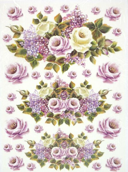 Amable Rice Paper For Decoupage Scrapbook Craft Sheet- Purple Roses Completo En Especificaciones