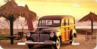1941 Woody On The Beach Vanity Metal Novelty License Plate
