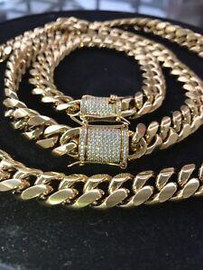 Mens-Cuban-Miami-Link-Bracelet-amp-Chain-Set-18k-Gold-Plated-12mm-Diamond-Clasp