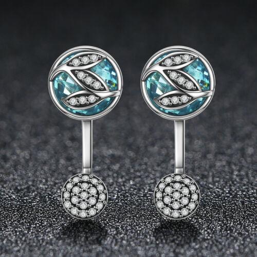 Authentique Argent Sterling 925 Cristal Bleu Leaf Charm Dangle Boucles d/'oreilles pour femmes