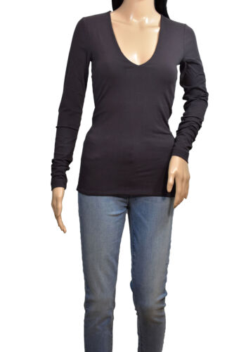 James Perse Chocolate V-Neck Long Sleeve T-Shirt