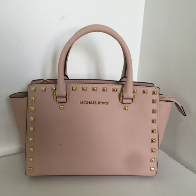 08a78475c53d NWT Michael Kors Medium Selma Stud Saffiano Leather Satchel Ballet  30T3GSMS2L