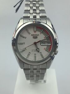 Seiko 5 Automatic White Dial Silver Steel Men's Watch SNK369K1 PRE-OWNED