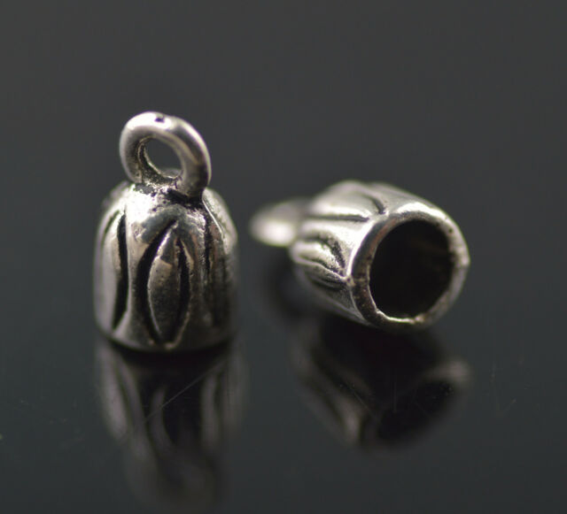 100Pcs Silver End Caps Bead Stopper Fit 3mm Cord Jewelry Necklace DIY Charms