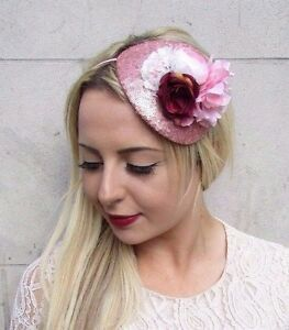 Rose Gold Blush Light Pink Burgundy Red Flower Fascinator Hat Races ... 59d4eba90d1