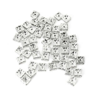 50-Silver-Tone-Rhinestone-Crystal-Square-Spacer-Beads-Jewelry-Making-Beads