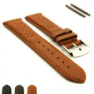 Genuine-Leather-Cross-Stitched-Watch-Strap-Band-SS-Buckle-18-20-22-24-Vinci-MM