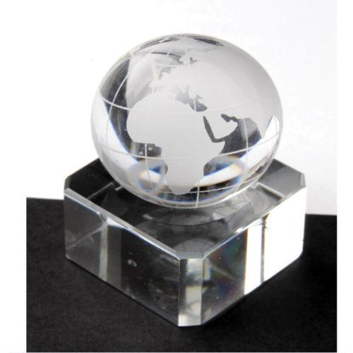 Neu Einzeln Transparentes Glas Weltkugel Karte 60mm Groß Marble Traditionell