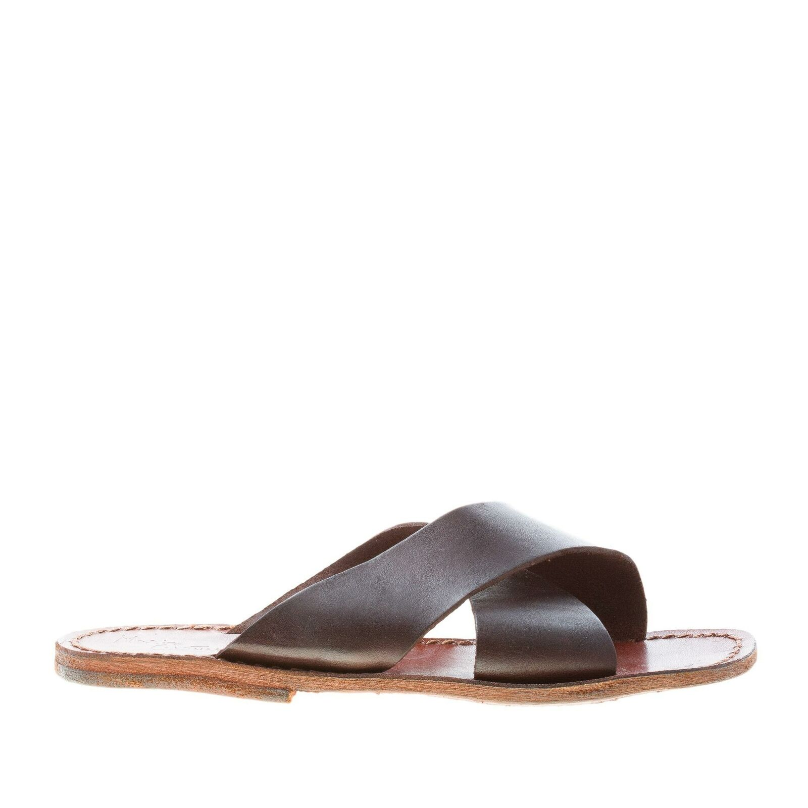 MARIA CRISTINA men zapatos Dark marrón leather slide crossed sandal made in