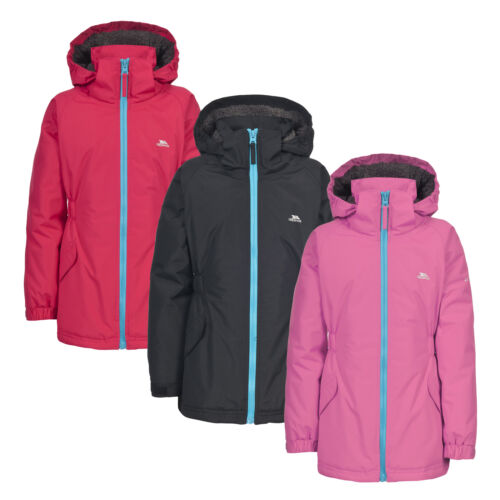 Trespass Wonder Kids Waterproof Hooded Rain Coat Warm Padded Windproof Jacket
