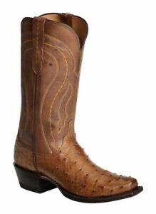 Bottes cowboy chasseur mexicain en cuir avec impression d'autruche brune en cuir