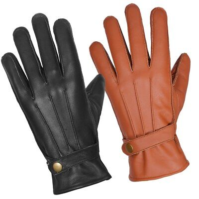 LEATHER GLOVES MENS THINSULATE SOFT FEEL FULLY LINED WINTER WARM OUTDOOR WALKING